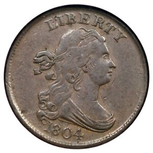 1804 C-10 NGC XF 45 Cross 4, Stems Draped Bust Half Cent Coin 1/2c