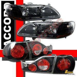 98 99 00 Honda Accord 4Dr Sedan JDM Black Headlights & Tail Lights Combo