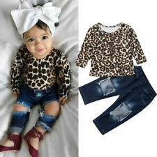 Baby Toddlers Girl Leopard Outfit Top T-Shirt Denim Jeans Tracksuit 2Pcs Clothes