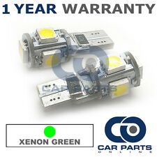 2X GREEN W5W 501 SIDELIGHT NUMBER PLATE INTERIOR REPEATER 5 SMD LED BULBS CANBUS
