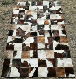 NEW COWHIDE PATCHWORK CARPET AREA RUG Cow hide PERFECT TEXAS 4ft x 6ft