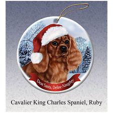 Cavalier King Charles Ruby Howliday Porcelain China Dog Christmas Ornament