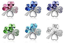 A2 Dark Blue Pink White Green Purple Clover Lucky Bridal Somesthing Blue Brooch