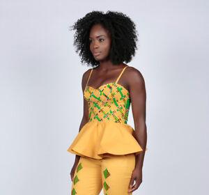 Women Ladies African Kente Print Peplum Boob Tube Top in Sizes UK10 -to- UK14
