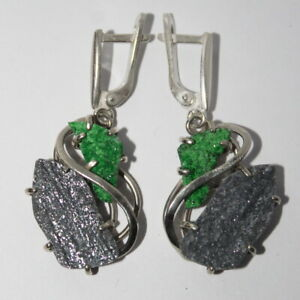 Uvarovite green avanturine earrings