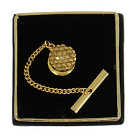 Mens Gold Tone Circle Textured Crosshatch Tie Tac Tack Pin Gift Boxed