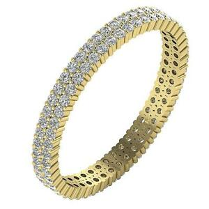 2 Row Eternity Wedding Ring SI1 1.00 Ct Round Diamond Prong Set 14K Gold RS 8.75
