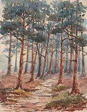IMPRESSIONIST TREES IN FOREST Victorian Watercolour Painting c1880