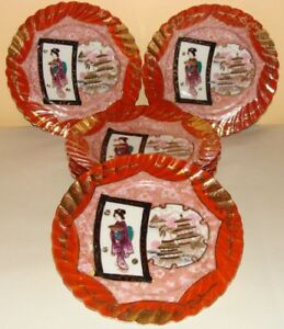 ANTIQUE JAPANESE HAND PAINTED STAMP OLD SET OF 7 GEISHA RED GOLD GILDED PLATES