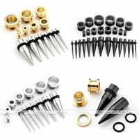 Stainless Steel Ear Taper Screw Plug Tunnel Stretching Kit Expander Set GaugesFS