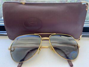 Vintage Cartier Vendome Santos RARE Sunglasses 22K Gold Plated 59*16 Medium