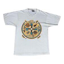 Mayan Style Vintage T-Shirt Mens Size S White Single Stitch USA Made