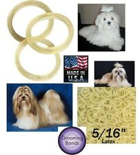 "100 Dog Grooming Latex Rubber 5/16"" ELASTIC&Rosin HAIR BAND-Ribbon&Bow,Top Knot"