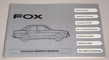 Owner´s Manual Audi 80 Fox Typ 82 B1 Betriebsanleitung Ausgabe 1978