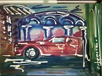 ORIGINAL Malerei A4 PAINTING abstract abstrakt contemporary art city stadt auto