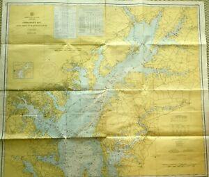 VINTAGE NAUTICAL CHART MAP MD MARYLAND CHESAPEAKE BAY Sandy Pt+Susquehanna River