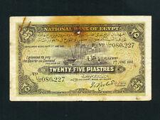 Egypt:P-10a,25 Piastres,1918 * Nile Banks * Rowlatt Sign * RARE * F *