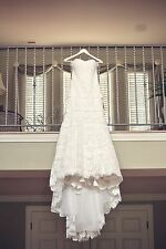 Venice Lace Ivory and Royal Organza over Peony Wedding Gown by Martina Liana