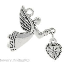 "10PCs Silver Tone Angel Love Heart Charm Pendants 25x22mm(1""x7/8"")"