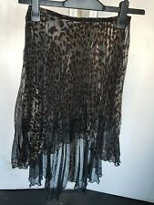 Topshop pleated cheetah print high low skirt size UK 8