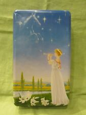 Vintage Art Deco Tin Box with Pegasus Woman Playing Flute and White Lily Flowers
