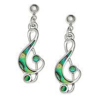Music Note Earrings Paua Abalone Shell Treble Clef Silver Fashion Jewellery