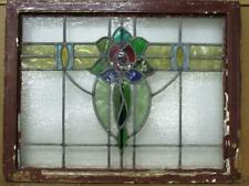 """MIDSIZE OLD ENGLISH LEADED STAINED GLASS WINDOW Stunning Rose 28.5"""" x 21.75"""""""