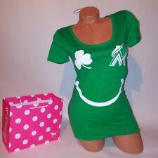 Victoria Secret PINK T-Shirt Small Green White Marlins Good Luck Charm