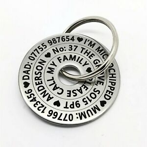 Funky Large Pet Dog ID Name Disc Tag Tags- Stainless steel polo FREE ENGRAVING