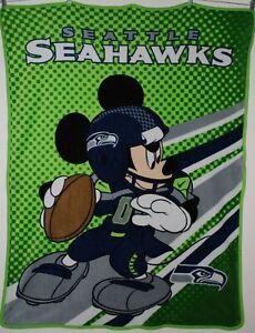 "NFL Seattle Seahawks 43 1/2"" x 58 1/2"" Disney Mickey Mouse Fleece Throw Blanket"