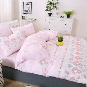 MY MELODY Strip Pattern Pink Cotton Duvet Cover Flat Sheet Bedding Set 3/4 PCS