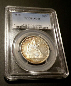 1878 Seated Liberty Silver Half Dollar-Certified PCGS-AU-55-Toning-Luster-RARE