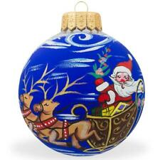 Santa Riding Sleigh with Reindeer Glass Ball Christmas Ornament 4 Inches