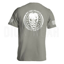 We The People Liberty Or Death Military American Flag Skull Men's T-shirt