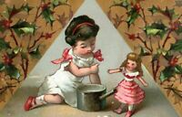 Victorian New Year's Trade Card, Little Girl Playing With Doll Holly Border A1