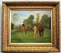 Horseback Ride 19th Century Amazing French Original Oil Painting