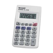Sharp 8 Digit Handheld Pocket Calculator White Small Compact Pocket or Purse