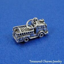 .925 Sterling Silver FIRE ENGINE TRUCK CHARM Firefighter Fireman PENDANT *NEW*