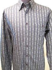 IKE BEHAR SHIRT Mens REFLECTIVE BLUE Striped Size Large Long Sleeve New York NYC