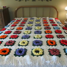 NEW Handmade Handcrafted Crochet Afghan Throw Blanket  Granny Square Flowers
