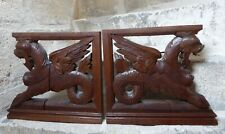 PAIR Large Gothic Dragon Griffin wood carved Statue Figurines Hunting Cabinet XL