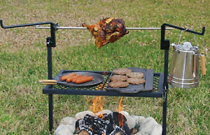 Rotisserie Grill Outdoor Campfire Cooking Camping Equipment Kitchen Patio 24x16