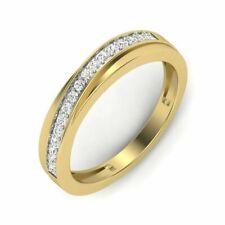 Round Cut Diamond Half Eternity Band Ring 14k Yellow Gold