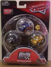 Disney Pixar Cars MIni Racers 3 Pack ~ Metallic Series Lightning, Jackson, Cruz