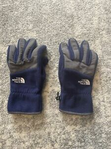 THE NORTH FACE Navy Blue Fleece Gloves Men's L Midweight With Grip