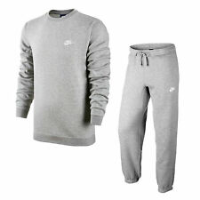 Nike Mens Essential Fleece Full Tracksuit Grey Crew Neck
