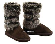 Women Low Flat Heel Faux Fur Suede Slip On Winter Furry Shearling Boots NEW