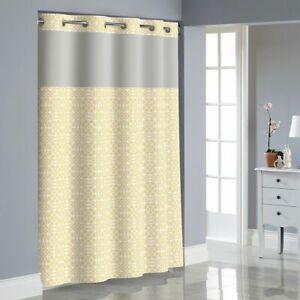 NEW Hookless flex on sunlight medallion Shower Curtain with Peva Liner yellow