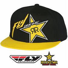 NEW Fly Racing Rockstar Hat Snapback FlexFit Flat Bill MX Moto Dirtbike BMX