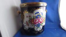 belle ancienne jardiniere cache pot porcelaine de paris decor floral peinte main